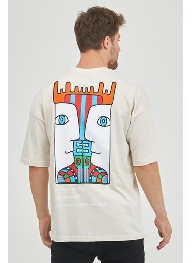XHAN Taş Rengi Arkası Baskılı Oversize T-Shirt 1Kxe1-44652-56 Taş
